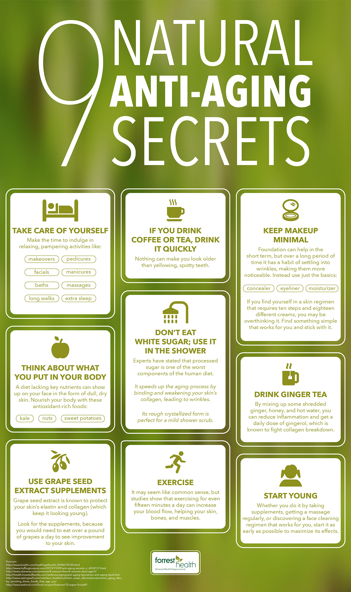 9 Natural Anti-Aging Secrets Infographic
