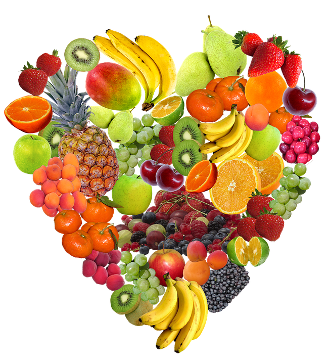 heart shaped collection of fresh fruits