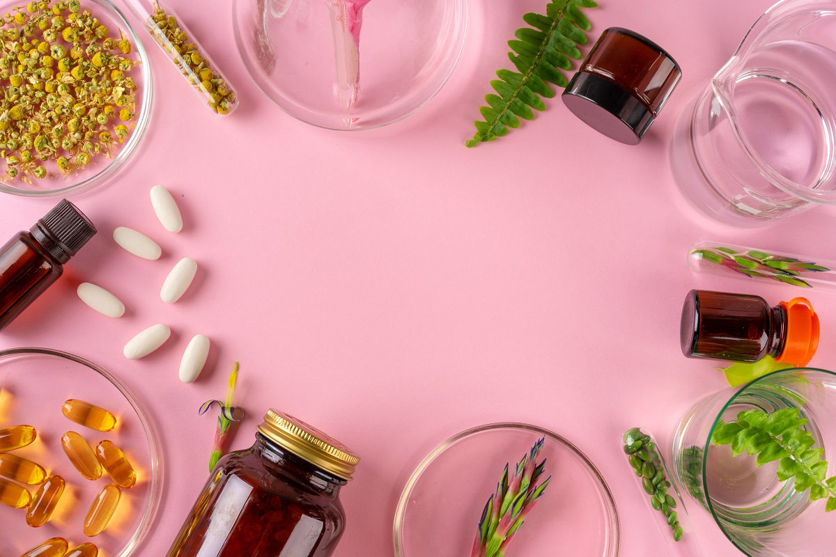 Herbs and Herbal dietary supplements top view