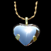 6005 ADD/ADHD Focusing Shield -Heart Sterling w/ 14k Gold Tabs