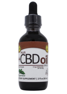 PlusCBD Raw Oil Drops - 3mg - Peppermint 2 oz